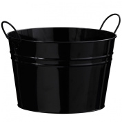 Atrractive Bucket Made Of Black Zinc With Double Handles & Round Shape