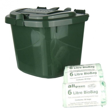 Green 5L Vented Kitchen Compost Caddy & 150x 6L Biobags - Composting Bin for Food Waste Recycling