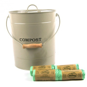 Extra Large Metal Kitchen Compost Caddy (Clay colour) & 100x 10L Biobags & composting guide - Composting Bin for Food Waste Recycling
