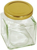 Tala 200gm Square Preserving Glass Jar With Gold Screw Top Lid Clear 200gm