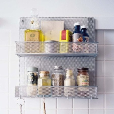 Wire Mesh Wall Mounted Kitchen Spice Rack and Organiser