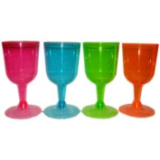 Neon Coloured 80's Party Disposable Wine Glasses x20