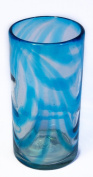 Turquoise Swirl recycled and fairly traded handblown hi-ball glass set of 2