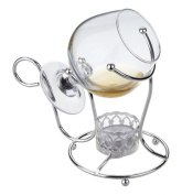 Brandy Cognac Warmer, and Glass in Silver Plated Frame with special tarnish resistant finish on silver that never needs polishing.candle included