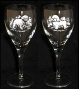 BICHON FRISE Wine Glass (Boxed pair of wine glasses) *Dog Gift*