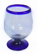 Blue Rim recycled and fairly traded handblown XL Brandy glass set of 2