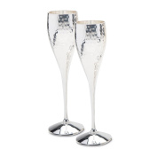 Pair Of Silver Plated Hammered Champagne Goblets