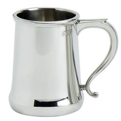 Cast Pewter Tankard with Highly Polished Finish