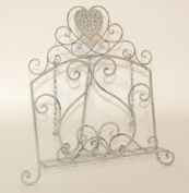 Wrought Iron Cook Book Holder With Heart Design - French Grey