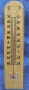 C & F 26CM HIGH WOODEN INDOOR OUTDOOR THERMOMETER