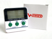 Winware Kitchen/Cooking/Bedroom/Sport Countdown Timer - Counts down or up in HOURS AND MINUTES - light easy to use timer with magnet for fridge, big digits, extra loud alarm and instructions included