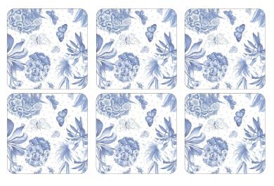 Portmeirion Botanic Coasters, Set of 6, Blue