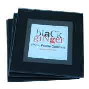". Photo Frame Coasters"" black finish, great unusual gift"