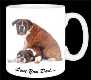 "Boxer Dog ""Love You Dad..."" Fathers Day Sentiment 330ml Ceramic Mug Gift"