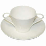 Two Handled Bone China Cup and Saucer - White