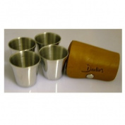 4 Polished Chrome Effect cups in Tan leather carry case