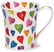 Dunoon bone china mug with warm hearts design in Jura shape