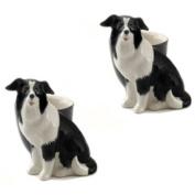 Quail Ceramics - Pair of Border Collie Figure Egg Cups