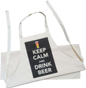 Keep Calm and Drink Beer - Adult Apron - Natural (Cream) Cotton Drill