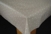 Wipe Clean Tablecloth PVC Random 5mm White Spot on Taupe 300cm x 137cm