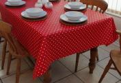 140x300cm OBLONG PVC/VINYL TABLECLOTH - RED & WHITE POLKA DOT