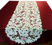 """Tablecloth accessories - Table Runner - Runner 67"""" (170cm) - Pink Rose with White daisy embroidery"""