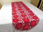 """Christmas Tablecloth - Runner 67""""x16.5"""" (170x42cm) - Red Poinsettia Xmas embroidery"""
