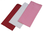 Homescapes - Pure Cotton Tea Towels Set of Three - Hearts - Red Pink - 50 x 70 cm - Fully Coordinated Washable Kitchen Linen