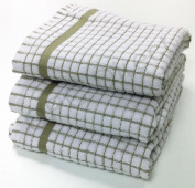 Poli Dri by Lamont BEIGE, Premium Quality Kitchen Tea Towel, cheque,poly dry 3 Pack