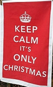 KEEP CALM RETRO CROWN IT'S ONLY CHRISTMAS Tea Towel