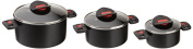 Ballarini Click and Cook 810000.6 Set of 3 Saucepans with Fitting Glass Lids