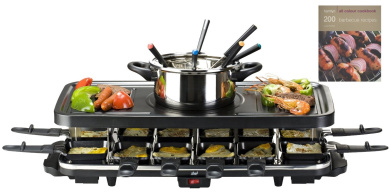 shef 12 person raclette grill with 6 fork fondue set 12 raclette pans free 39 hamlyn 200 bbq. Black Bedroom Furniture Sets. Home Design Ideas