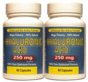 Pure Hyaluronic Acid 250 mg (Twin Pack) Mega Strength 60 Capsules Each