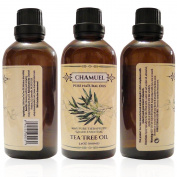 100% Pure Tea Tree Oil; Melaleuca Alternifolia Essential Oil, Undiluted, Therapeutic Grade, By Chamuel! 100 ml 3.4oz Premium, Natural Oil - Fights Skin Irritations and Infections, Including Acne, Bacteria, Fungus, Dandruff, & More