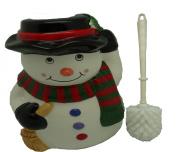 Ceramic Toilet Brush & Holder with Snowman Design