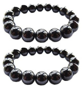 Set Of 2 Magnetic Hematite Therapy Bracelets Lg 12mm