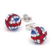 Shamballa Studs Union Jack Support Team GB Disco Ball Friendship Bead Unisex Silver Sterling. Crystal Beads
