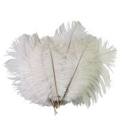 RHX Wedding DIY Crafts Decorations 10pcs 6-8 inch White Ostrich Feathers 15 - 20cm