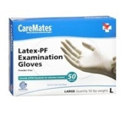 Caremates Caremates Latex-Pf Examination Gloves Large