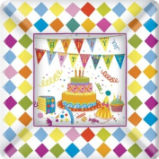 Ideal Home Range 8 Count Square Paper Plates, 18cm , Birthday Cakes