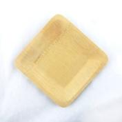 "BambooMN Brand - 7"" (18cm) Square Disposable Bamboo Veneer Plates, 24pcs"