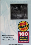 Amscan Plastic Spoons, Clear, 100 Ct
