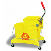 Continental 226-312YW, Yellow Splash Guard Combo Pack Bucket with 7.6cm Non-Marking Grey Casters and SW12 Side-Press Wringer, 24.6l Capacity