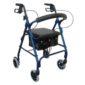 Drive Medical 20cm Wheel Folding Deluxe Walkabout Lite Rollator with Loop Brakes, Padded Seat and Under Seat Pouch, Blue