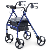 Hugo Portable Rollator Walker with Seat, Backrest and 20cm Wheels, Blue