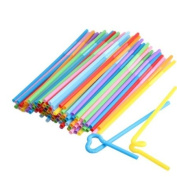 Vktech 100 Pcs Flexible Plastic Bendy Mixed Colours Party Disposable Drinking Straws