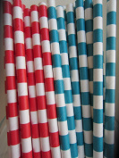 Dr. Seuss Inspired Colour Themed Red and Aqua Paper Drinking Straws 50 Ct. - Twilight Parties