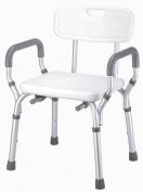 Essential Medical Adjustable Removable Arm Shower Bench with Back