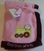 S.L. Home Baby Blanket Embroidered and Appliqued Monkey Choo Choo, Let's Go