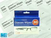 PACK OF 30 GLASS WIPES / GLASSES SUNGLASS SPECTACLES CLEANER / IDEAL FOR ALL TYPES OF OPTICAL LENSES
